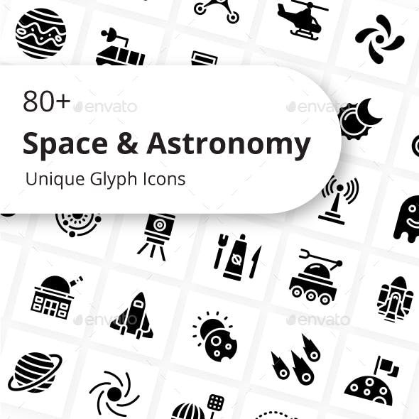Space & Astronomy Unique Glyph Icons