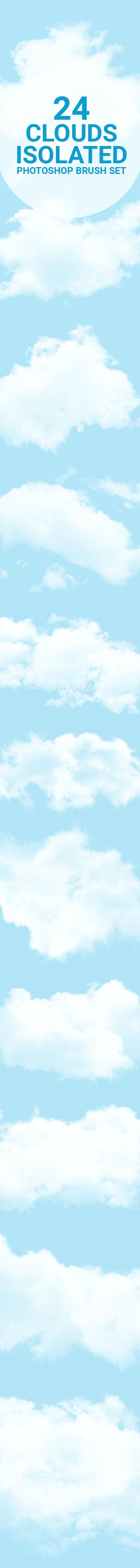 24 Cloud Isolated Photoshop Brushes Set - Brushes Photoshop