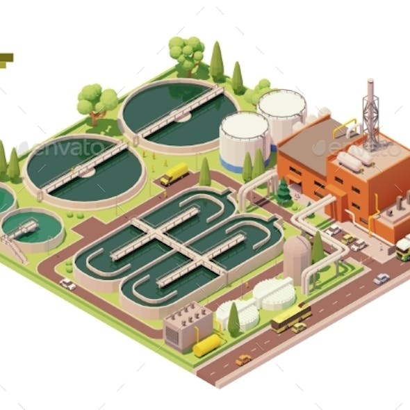 Vector Low Poly Water Treatment Plant