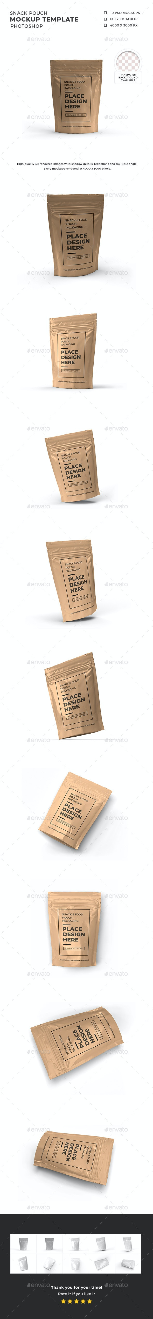 Snack Pouch Packaging Mockup Template - Packaging Product Mock-Ups