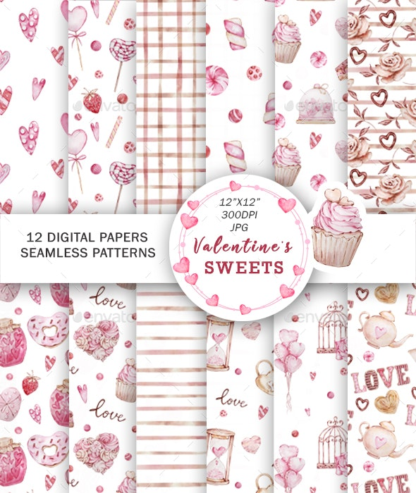 Watercolor Valentines Digital Papers, Seamless Pattern - Patterns Backgrounds