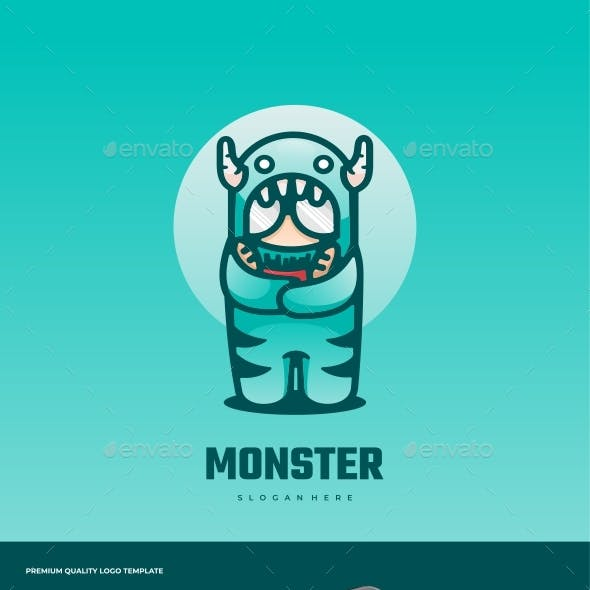 Monster Cartoon Logo Template