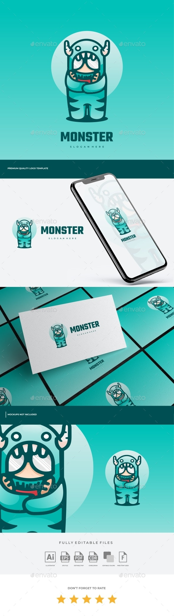 Monster Cartoon Logo Template - Abstract Logo Templates