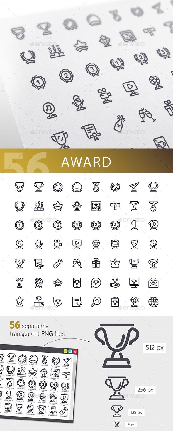 Award Line Icons Set - Man-made objects Objects