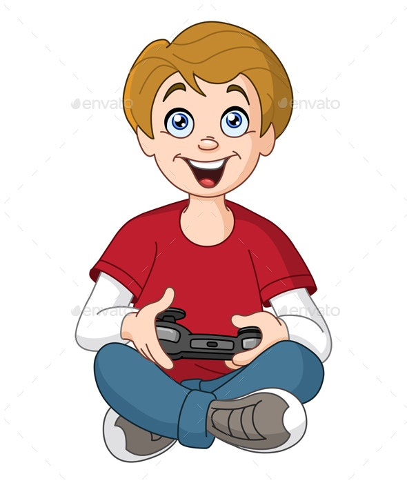 Kid Playing Video Games - People Characters
