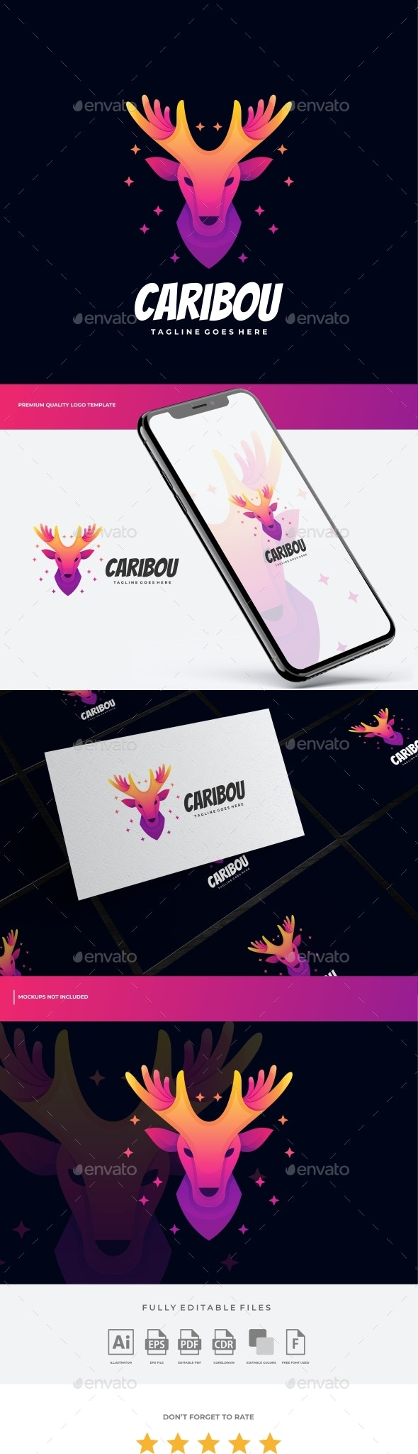 Caribou Gradient Colorful Logo Template - Animals Logo Templates