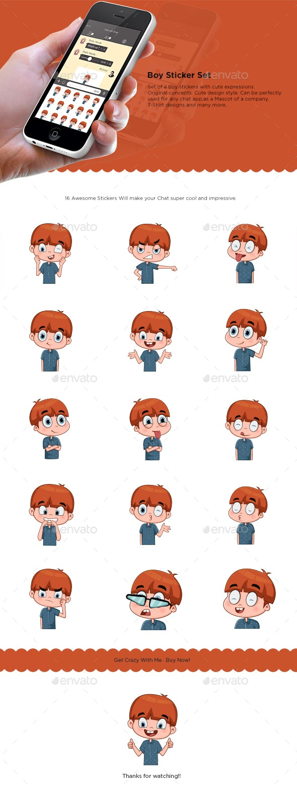 Boy Sticker Set - People Characters