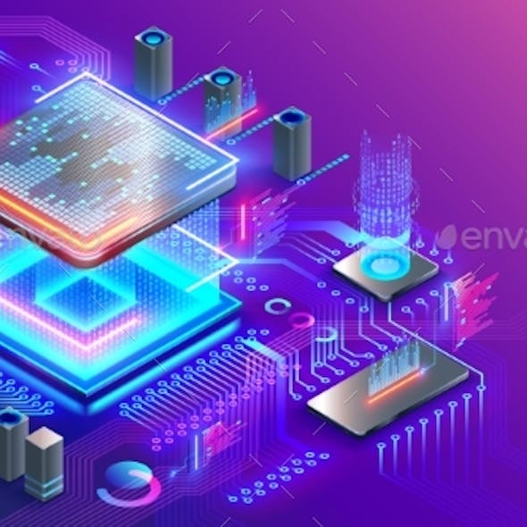 Blockchain cryptocurrency technology isometric concept. Graphic cpu miner currency. Processor chip