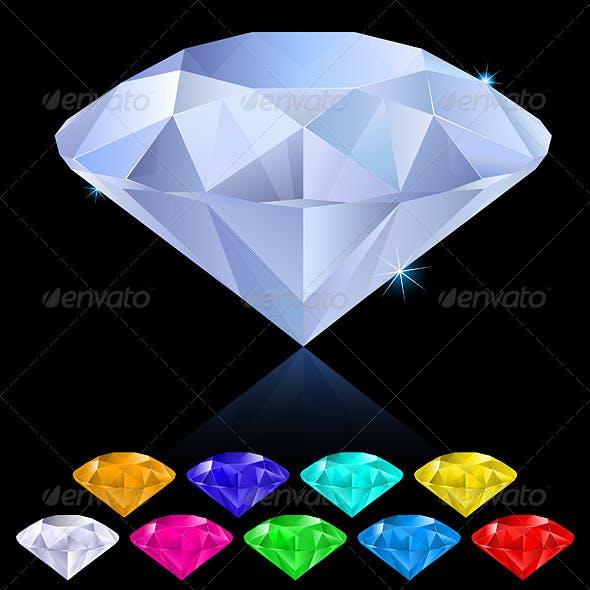 Realistic diamonds in different colors