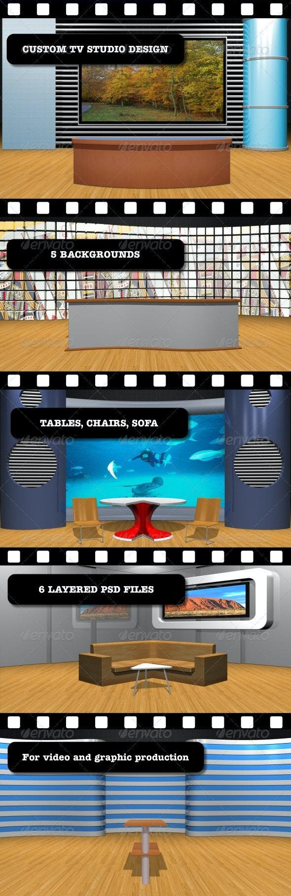 Custom TV Studio Design - 3D Renders Graphics