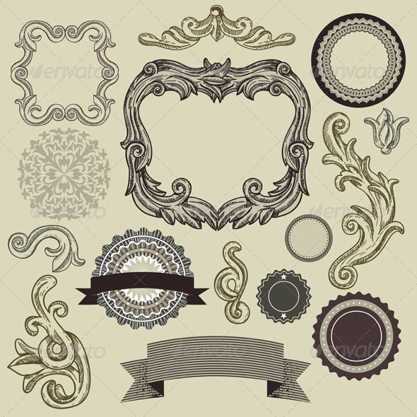 Collection of vintage design elements  - Borders Decorative
