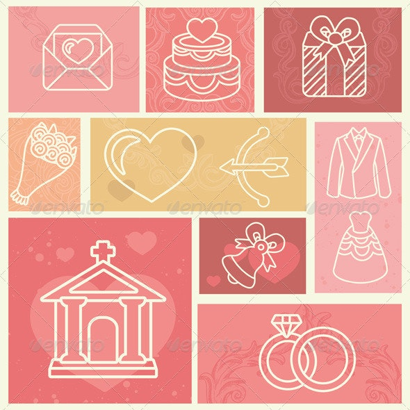 Design elements with wedding and love icons - Weddings Seasons/Holidays