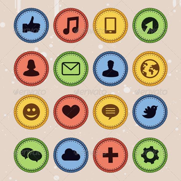 Set of Social Media Badges in Vintage Style