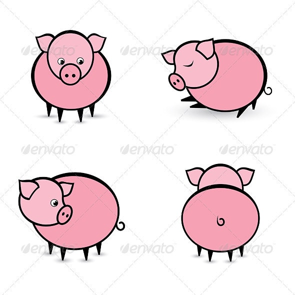 Four abstract pigs in different positions - Animals Characters