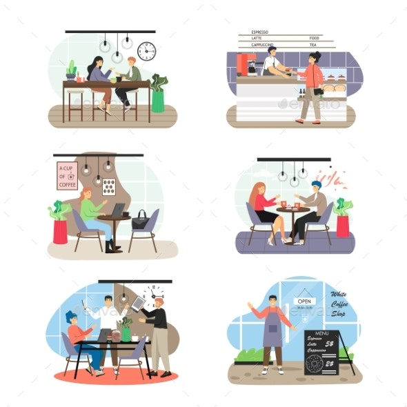 Coffee Shop Scene Set Flat Vector Isolated - Food Objects