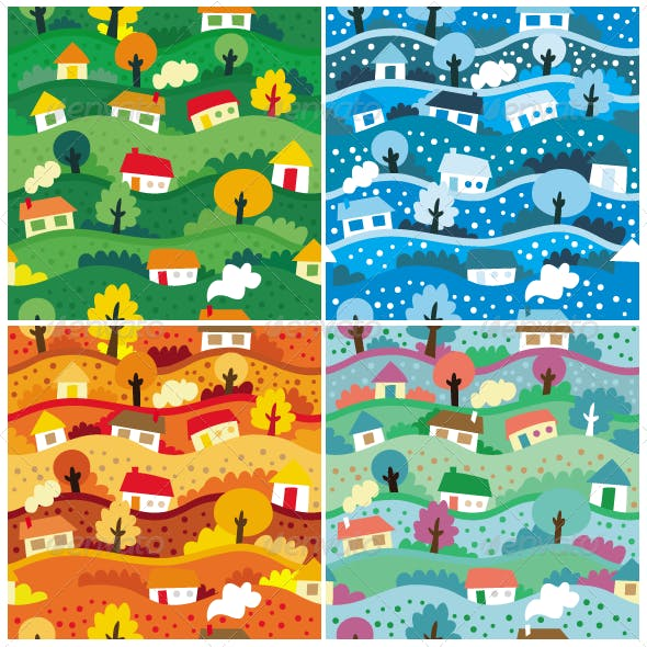 Vector Seamless Patterns with 4 seasons