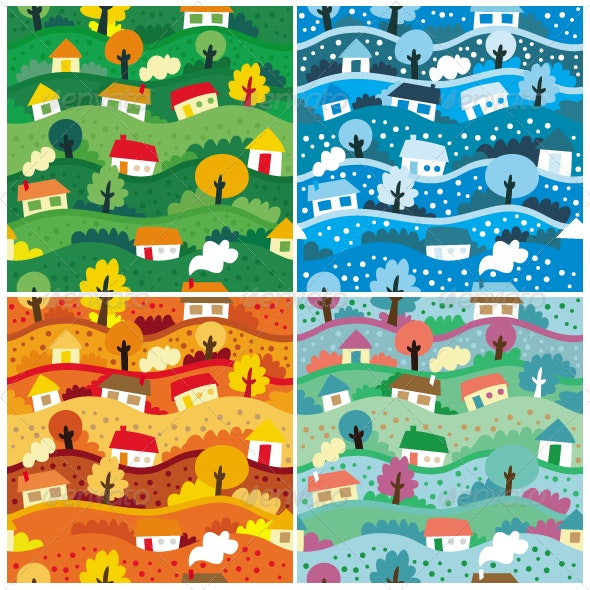 Vector Seamless Patterns with 4 seasons - Textures / Fills / Patterns Illustrator