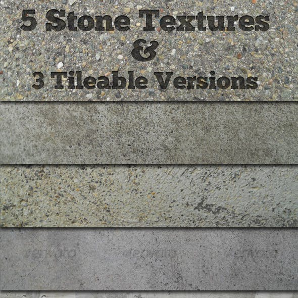 5 Stone Textures + 3 Tileable Versions