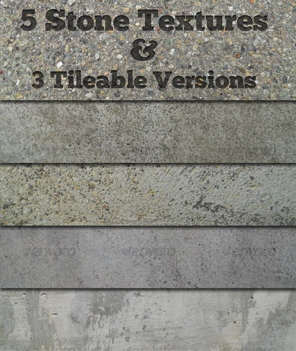 5 Stone Textures + 3 Tileable Versions - Stone Textures