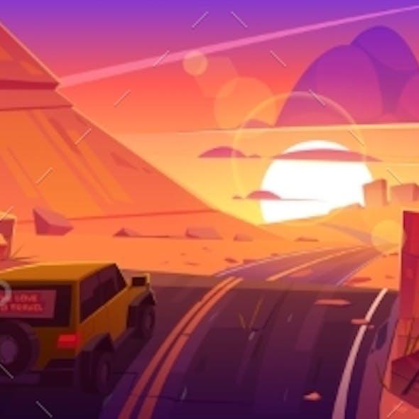 Car Driving Road at Sunset Desert Canyon Landscape