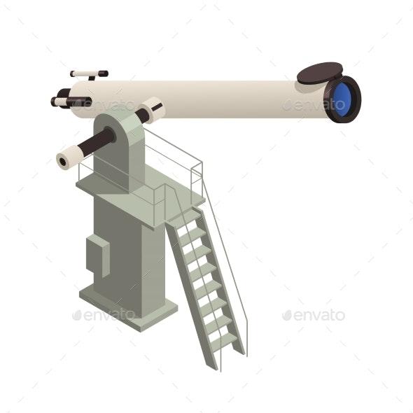 Isometric Astronomy Telescope Illustration - Objects Vectors