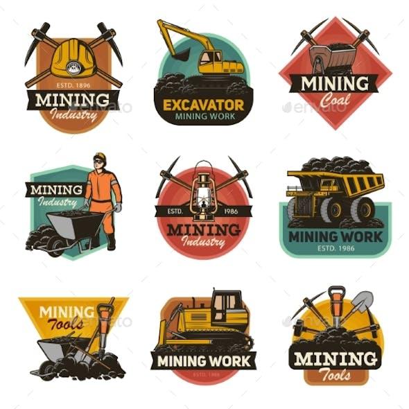 Coal Mining Machinery Miner Equipment Tools Icons