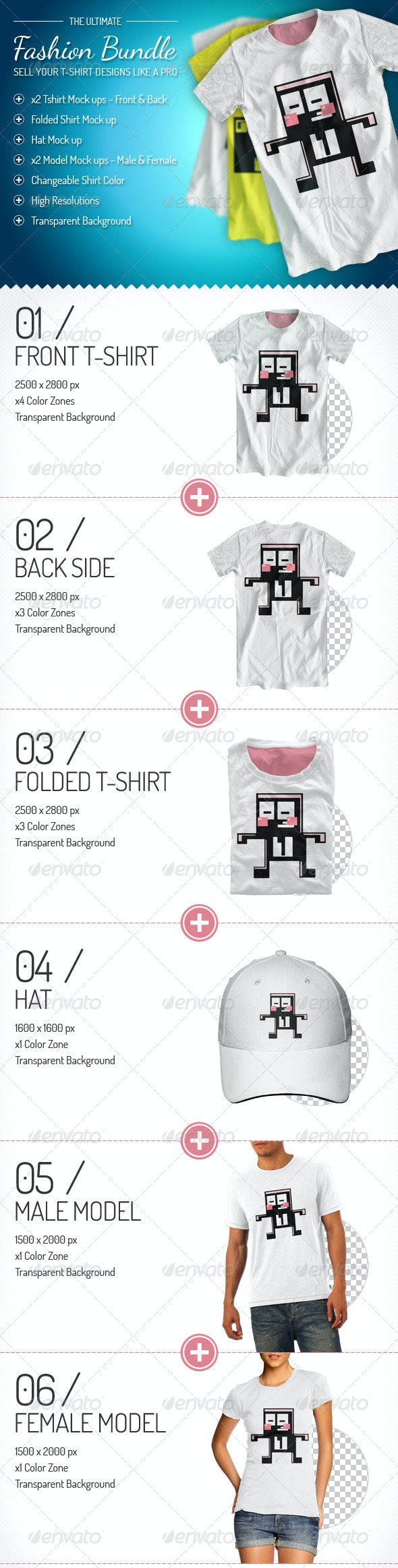 Fashion Bundle - x3 T-shirt / x2 Models / Hat - T-shirts Apparel