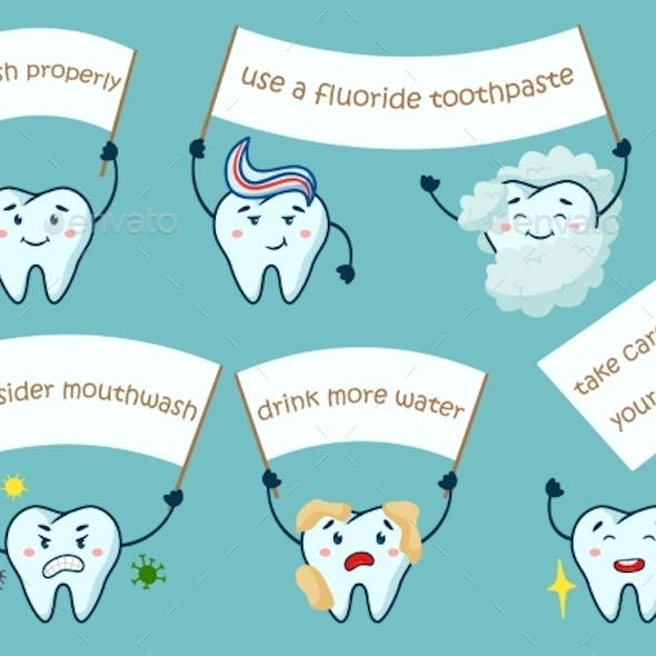 Cute Teeth with Motivation Poster Isolated Set