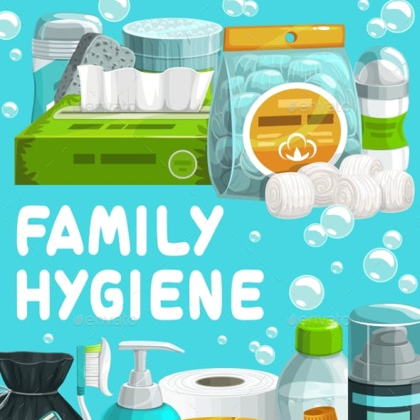 Family Hygiene Body Care Products Cartoon Poster