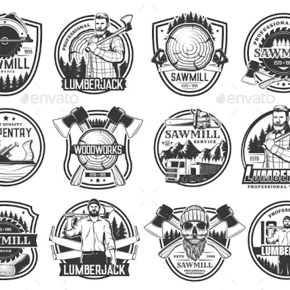 Lumberjack Lumbering Logging Wood Forestry Icons