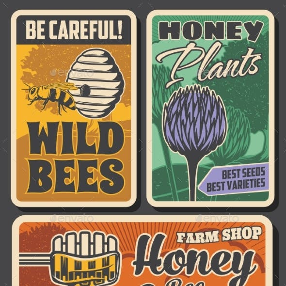 Beekeeping Farm and Honey Production Retro Posters