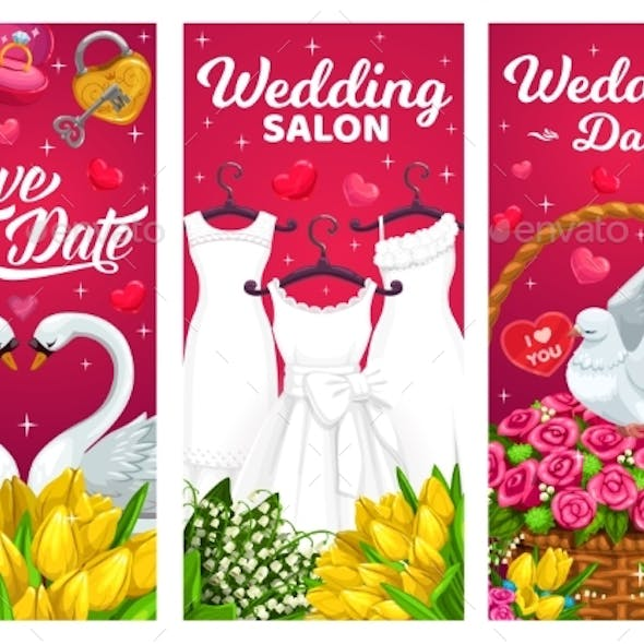 Wedding Marriage Banners Bridal Dress Vector