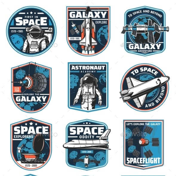 Astronaut in Galaxy Rocket in Outer Space Icons