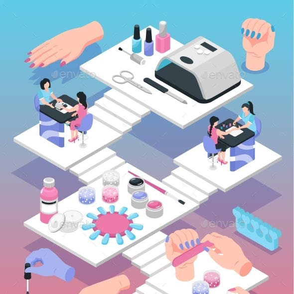 Manicure Isometric Poster