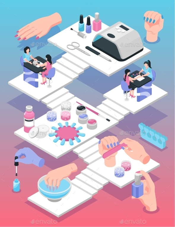 Manicure Isometric Poster - Backgrounds Decorative