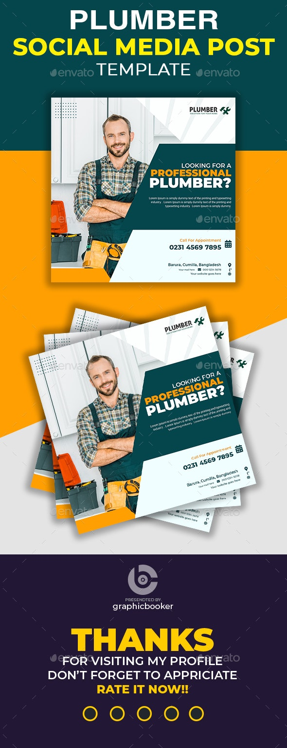Plumber Social Media Template - Social Media Web Elements