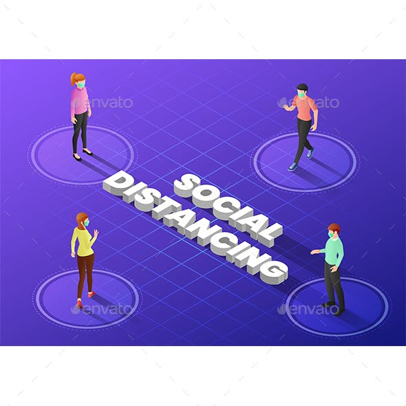 Isometric Web Banner People Keep Distance in Public Society to Avoid Spreading Covid-19 Virus