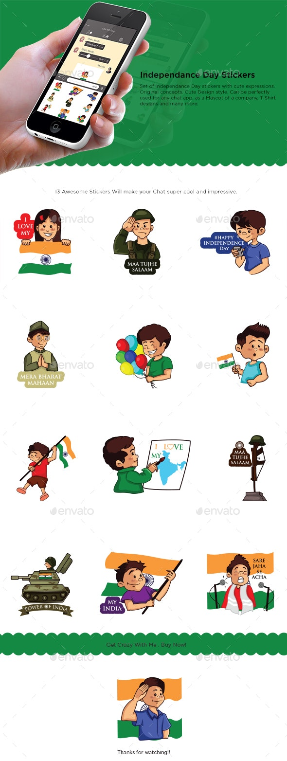 Independence Day Sticker Set - People Characters