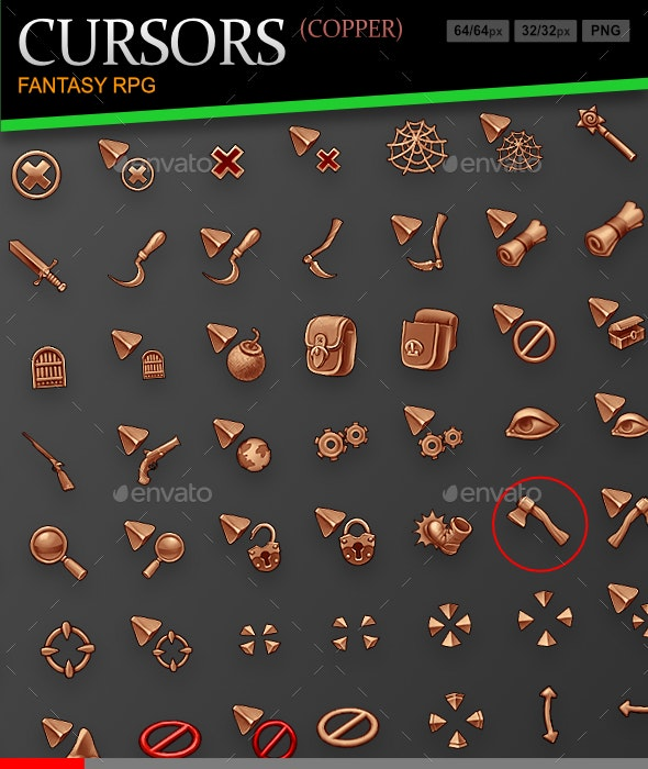 Fantasy RPG Cursors (copper) - Miscellaneous Game Assets