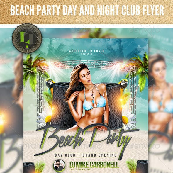 Beach Party - Day and Night Club Flyer