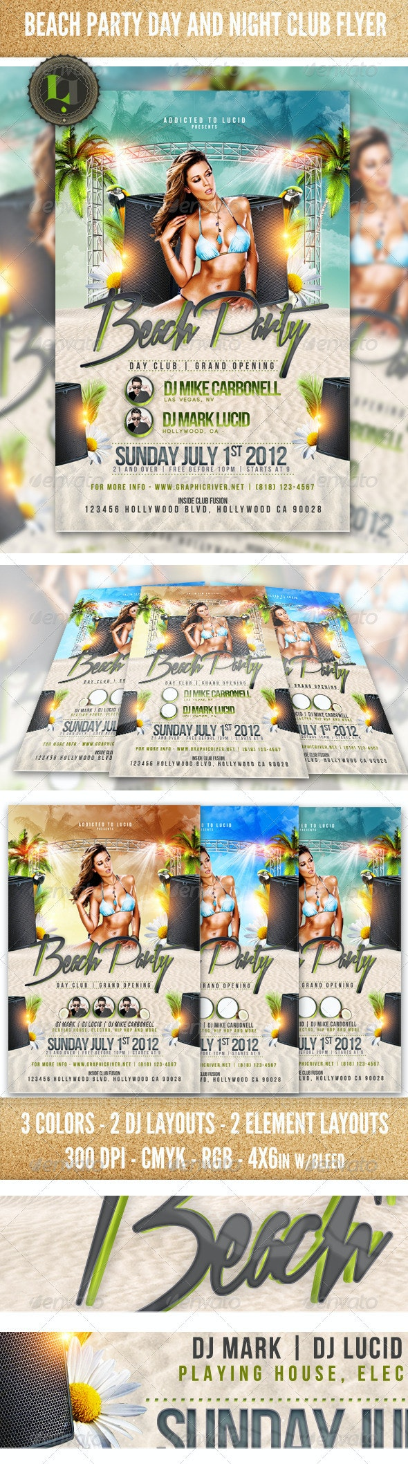Beach Party - Day and Night Club Flyer - Clubs & Parties Events
