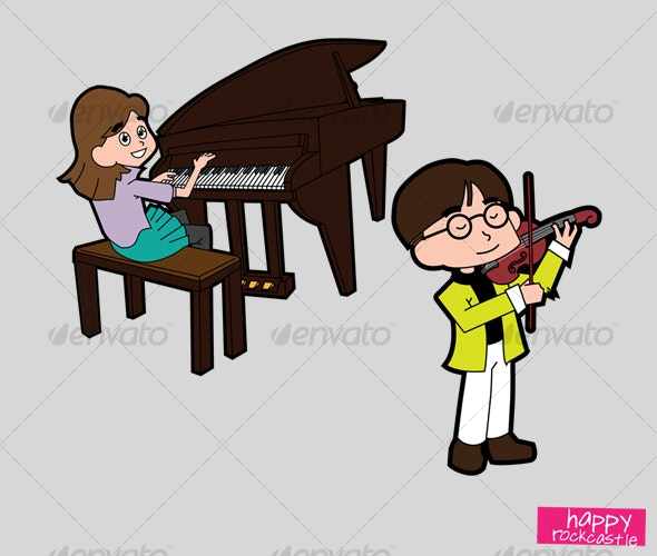 Music - Piano & Violin Player - Characters Vectors