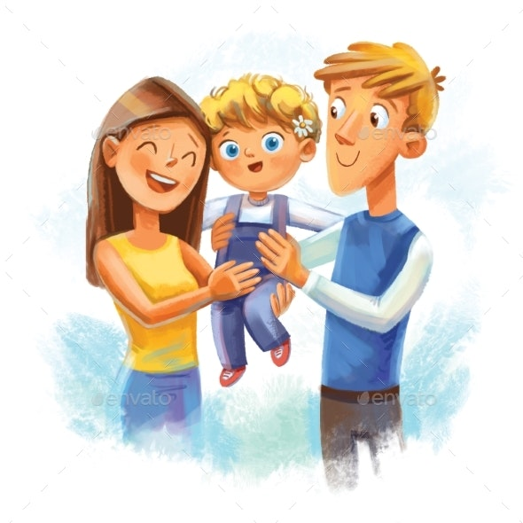 Father and Mother Hold Son in Their Arms - People Illustrations