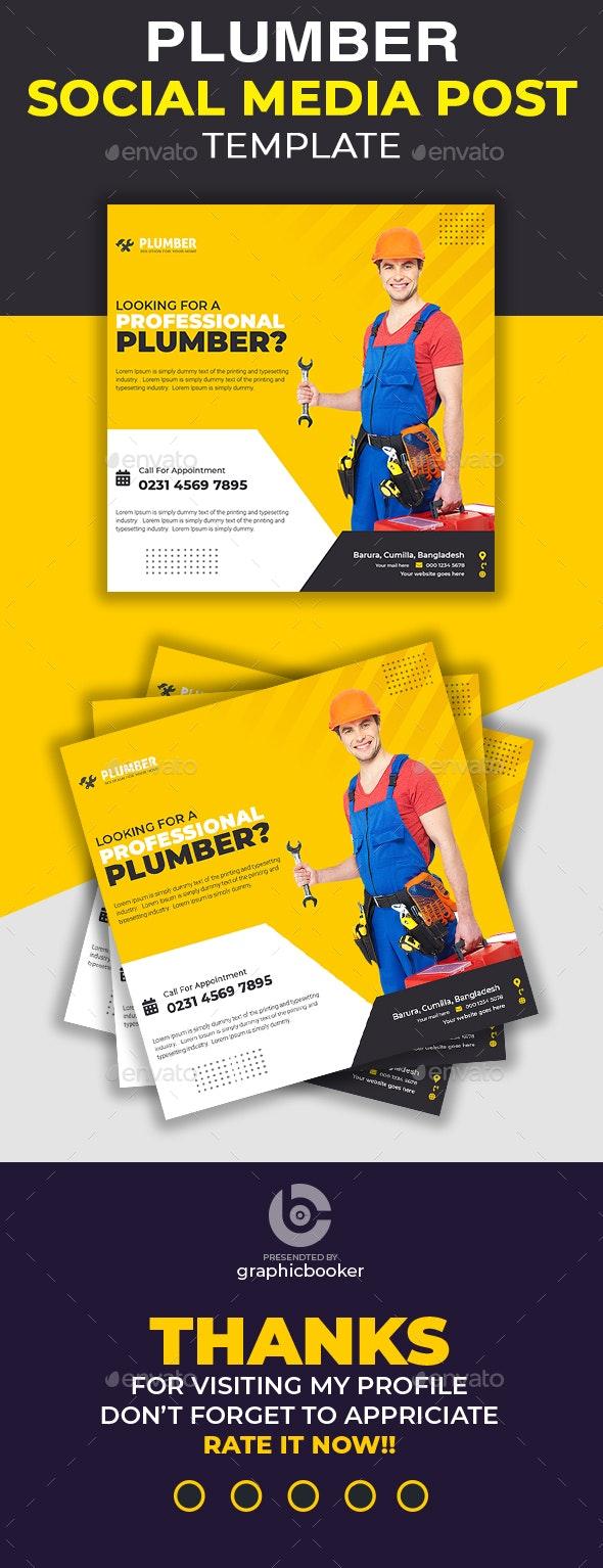 Plumbing Social Media Template - Social Media Web Elements