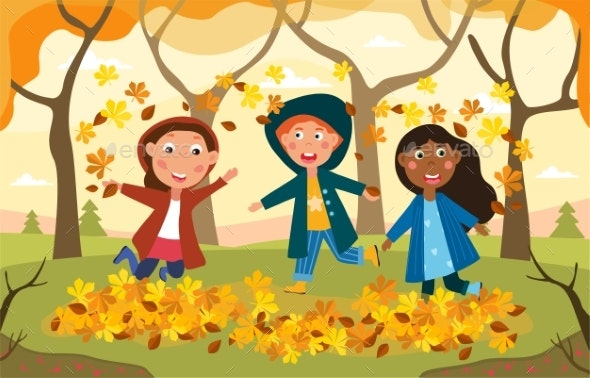 Three Happy Kids Plying Amongst Autumn Leaves by mentalmind1 | GraphicRiver