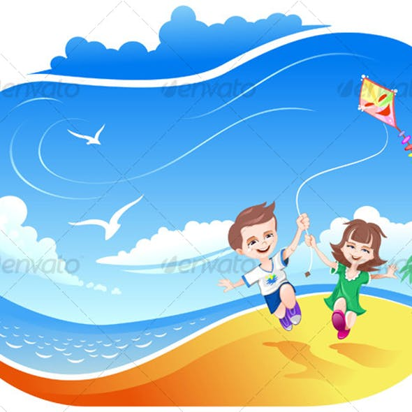 Boy and Girl running with Kite