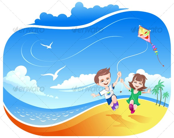 Boy and Girl running with Kite - People Characters