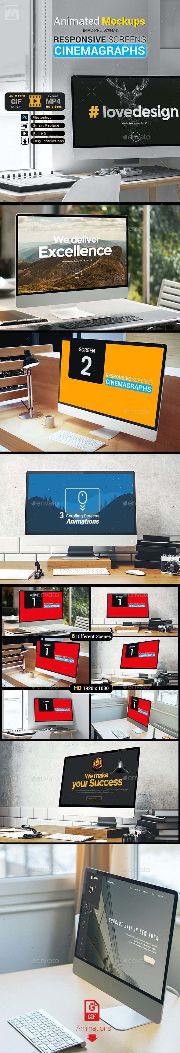 Responsive Cinemagraphs Screens-IMac -Animated Mockups - Monitors Displays