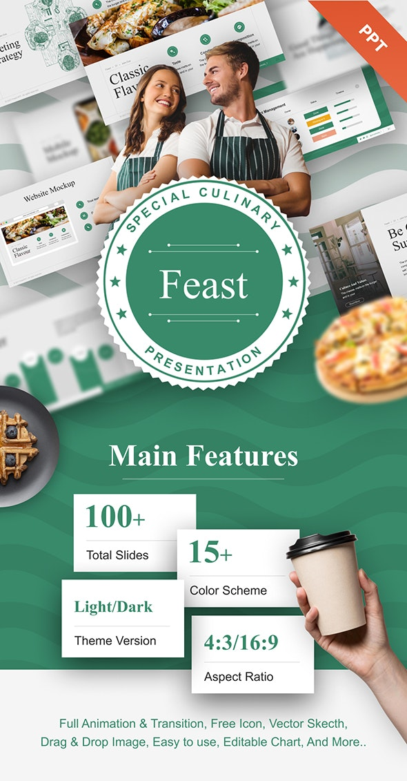 Feast Food PowerPoint Template - Business PowerPoint Templates
