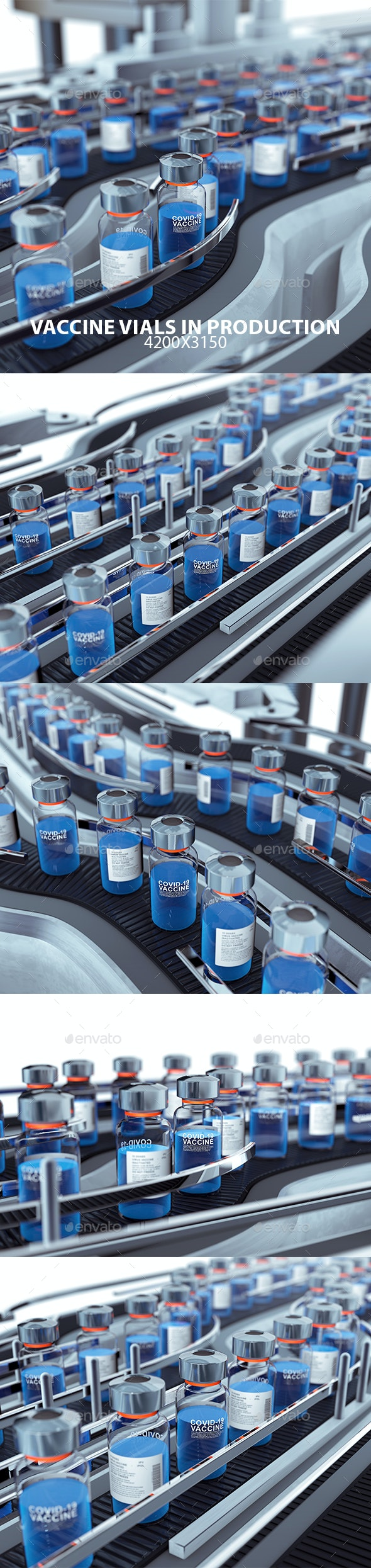 Vaccine Vials in Production - Objects 3D Renders